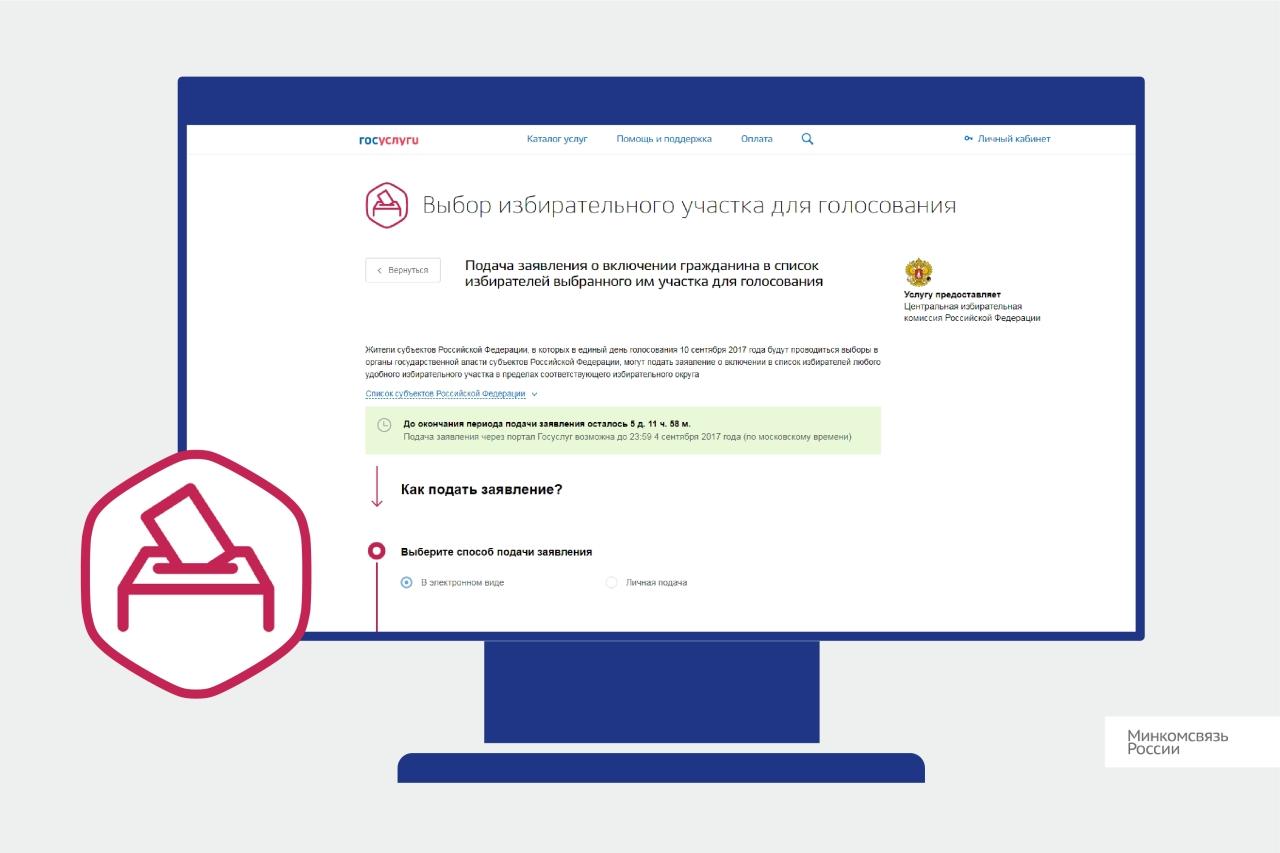 Напортале Госуслуг работает электронный сервис посмене избирательного участка